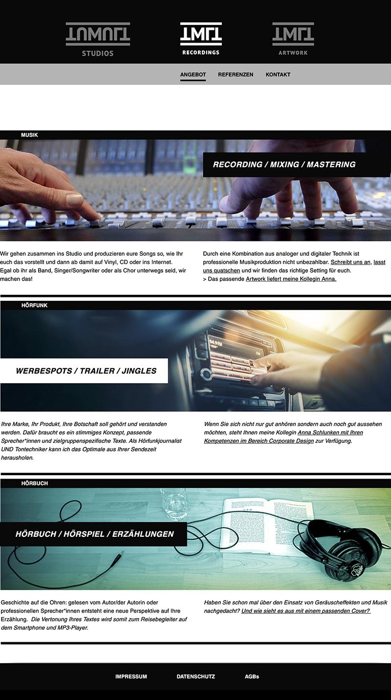 Webseitengestaltung Tonstudio