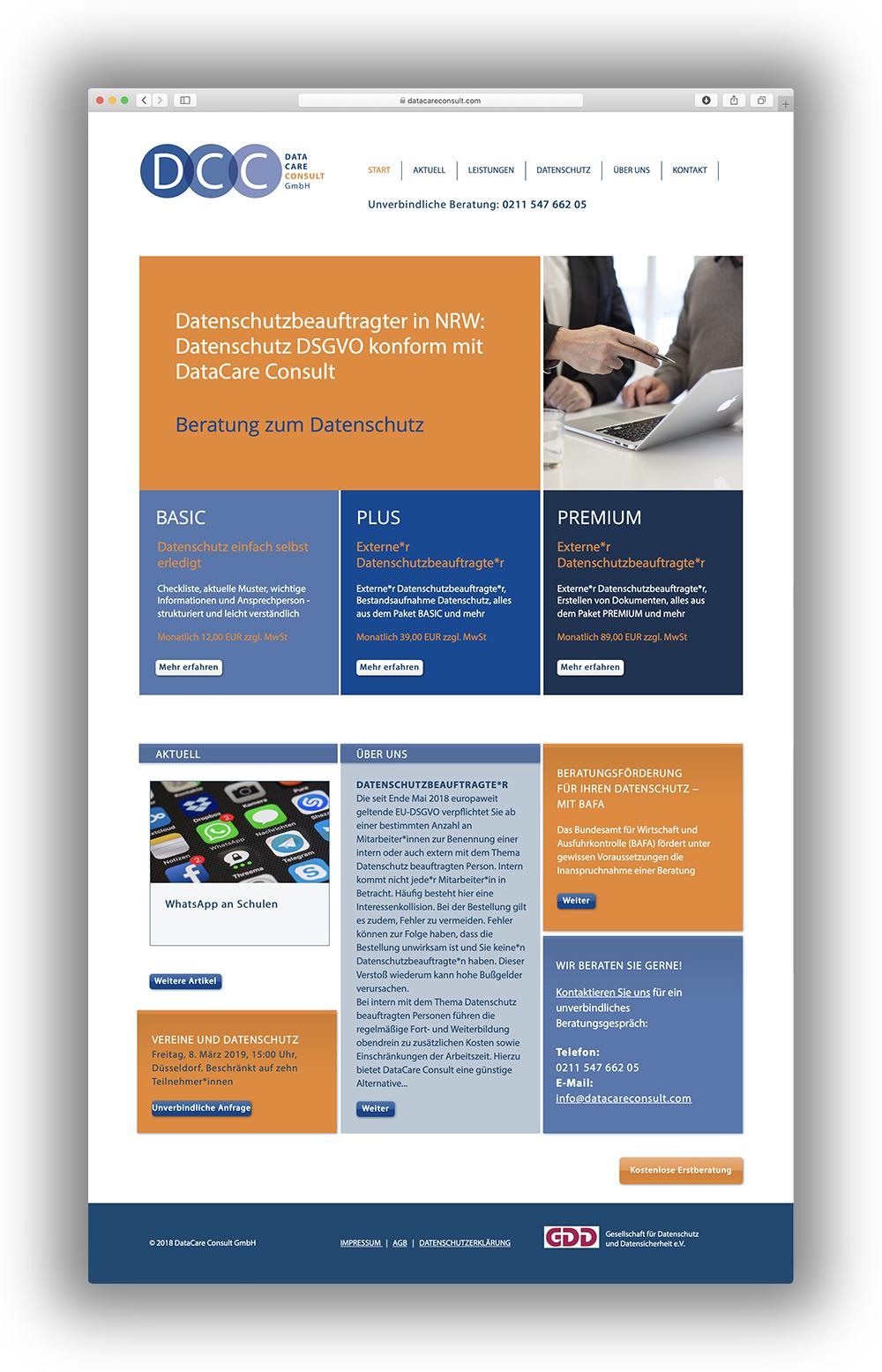 Webseitengestaltung für Datenschutzdienstleister