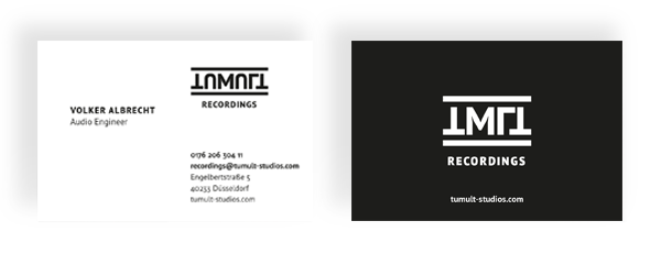Visitenkartengestaltung Tumult Studios