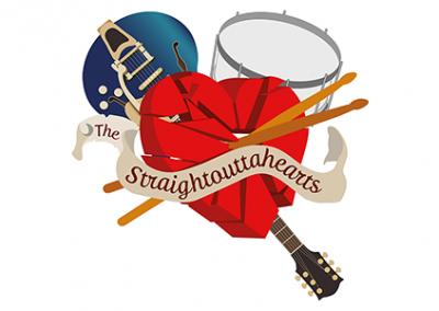 Logogestaltung und Bandartwork »The Straightouttahearts«